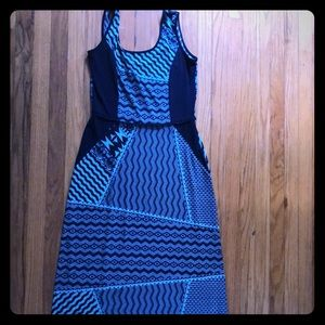 Donna Ricco Navy and Teal Maxi Dress
